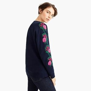 J Crew Embroidered Flower Sweatshirt